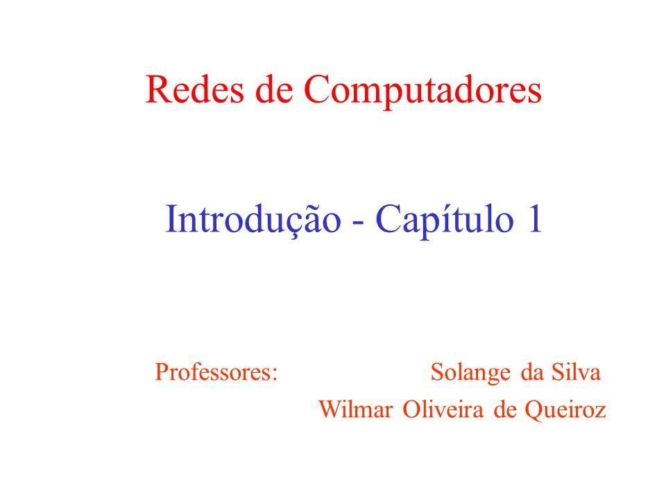 Redes de Computadores Introdução - Capítulo 1 Professores: Solange da Silva Wilmar Oliveira de Queiroz