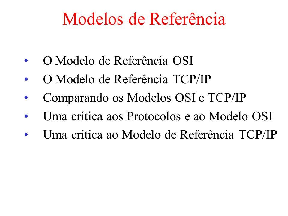 Modelos de Referência O Modelo de Referência OSI O Modelo de Referência TCP/IP Comparando os Modelos OSI e TCP/IP Uma crítica aos Protocolos e ao Mode