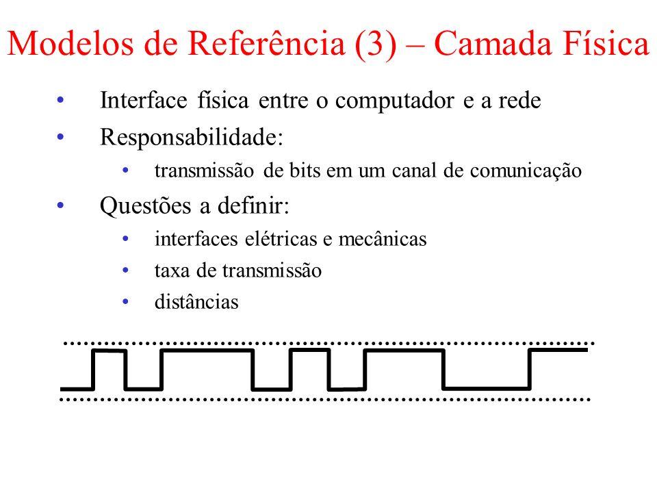 Interface física entre o computador e a rede Responsabilidade: transmissão de bits em um canal de comunicação Questões a definir: interfaces elétricas