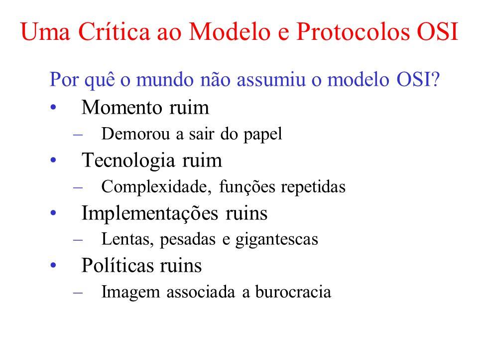 Uma Crítica ao Modelo e Protocolos OSI Por quê o mundo não assumiu o modelo OSI? Momento ruim –Demorou a sair do papel Tecnologia ruim –Complexidade,