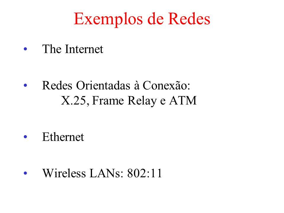 Exemplos de Redes The Internet Redes Orientadas à Conexão: X.25, Frame Relay e ATM Ethernet Wireless LANs: 802:11