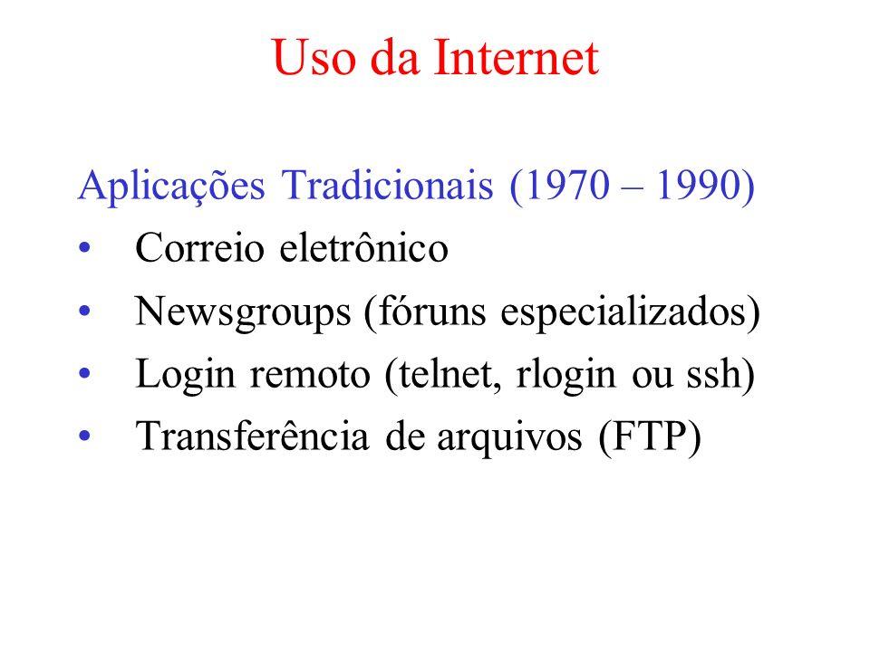 Uso da Internet Aplicações Tradicionais (1970 – 1990) Correio eletrônico Newsgroups (fóruns especializados) Login remoto (telnet, rlogin ou ssh) Trans