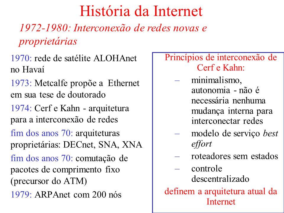 Princípios de interconexão de Cerf e Kahn: –minimalismo, autonomia - não é necessária nenhuma mudança interna para interconectar redes –modelo de serv