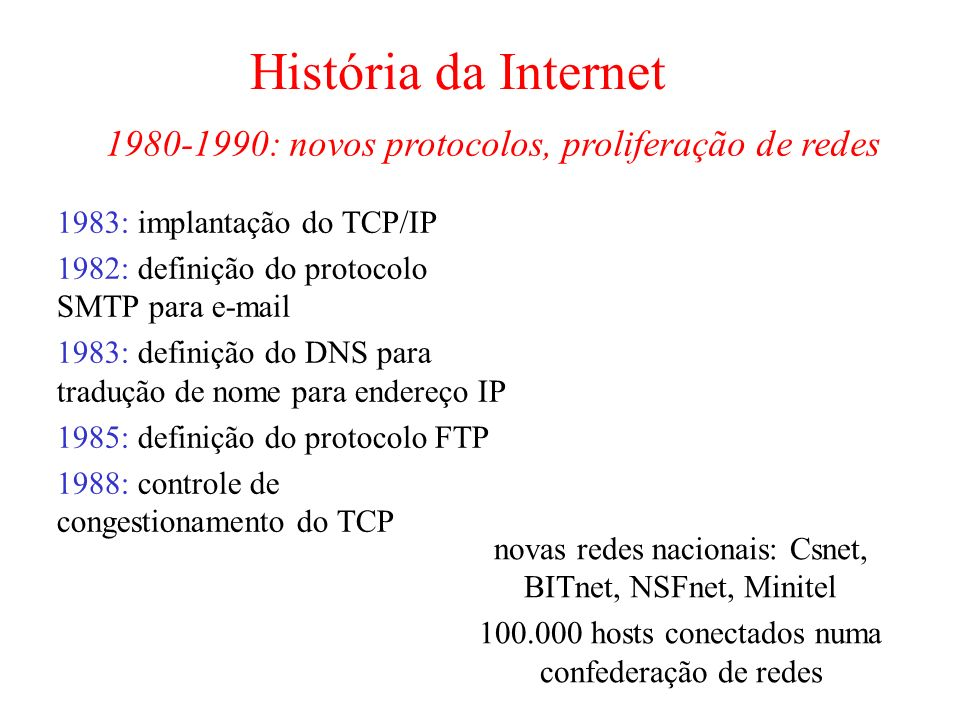 História da Internet 1983: implantação do TCP/IP 1982: definição do protocolo SMTP para e-mail 1983: definição do DNS para tradução de nome para ender