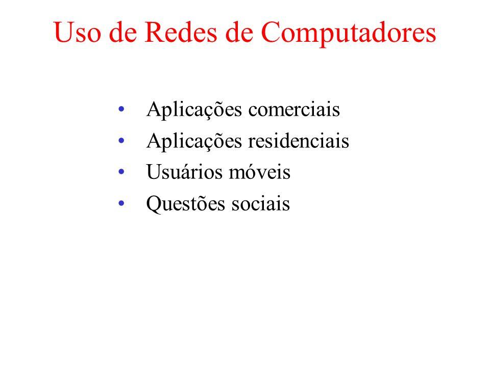 Uso de Redes de Computadores Aplicações comerciais Aplicações residenciais Usuários móveis Questões sociais