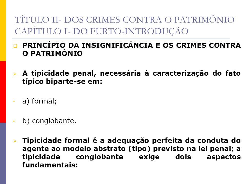 TÍTULO II- DOS CRIMES CONTRA O PATRIMÔNIO CAPÍTULO I- DO FURTO-INTRODUÇÃO PRINCÍPIO DA INSIGNIFICÂNCIA E OS CRIMES CONTRA O PATRIMÔNIO A tipicidade pe