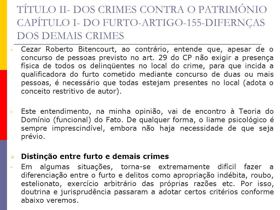 TÍTULO II- DOS CRIMES CONTRA O PATRIMÔNIO CAPÍTULO I- DO FURTO-ARTIGO-155-DIFERNÇAS DOS DEMAIS CRIMES Cezar Roberto Bitencourt, ao contrário, entende