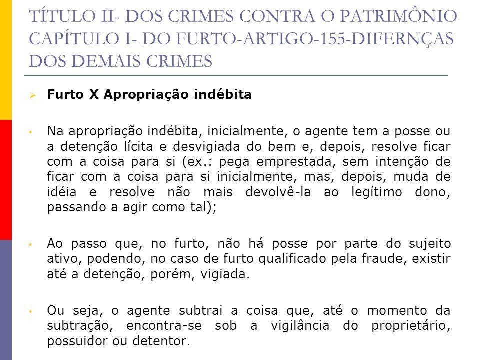 TÍTULO II- DOS CRIMES CONTRA O PATRIMÔNIO CAPÍTULO I- DO FURTO-ARTIGO-155-DIFERNÇAS DOS DEMAIS CRIMES Furto X Apropriação indébita Na apropriação indé