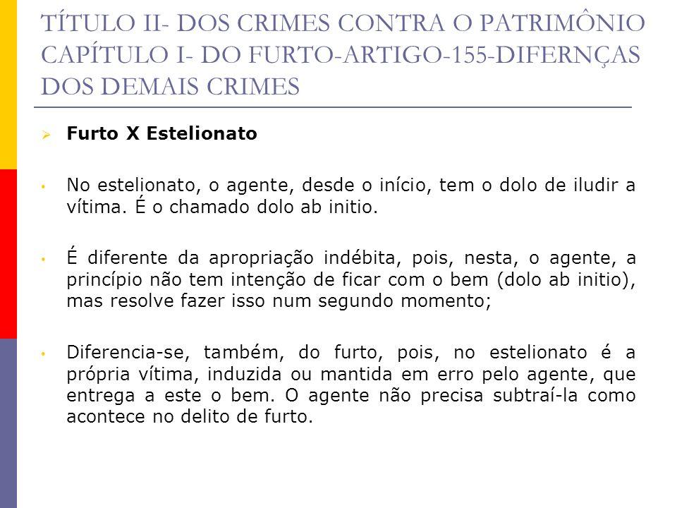 TÍTULO II- DOS CRIMES CONTRA O PATRIMÔNIO CAPÍTULO I- DO FURTO-ARTIGO-155-DIFERNÇAS DOS DEMAIS CRIMES Furto X Estelionato No estelionato, o agente, de