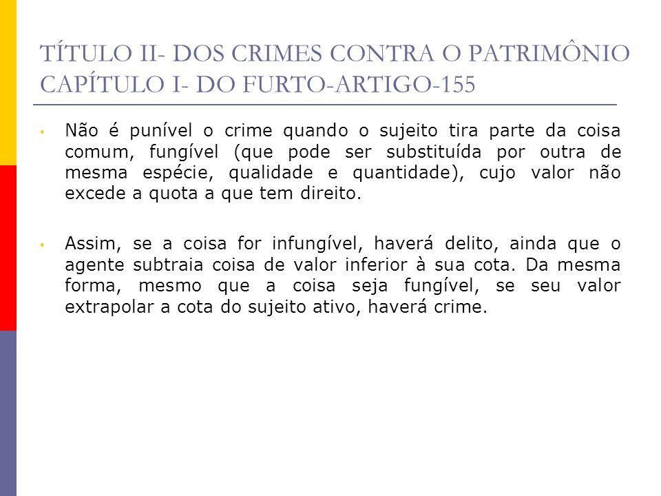 TÍTULO II- DOS CRIMES CONTRA O PATRIMÔNIO CAPÍTULO I- DO FURTO-ARTIGO-155 Não é punível o crime quando o sujeito tira parte da coisa comum, fungível (