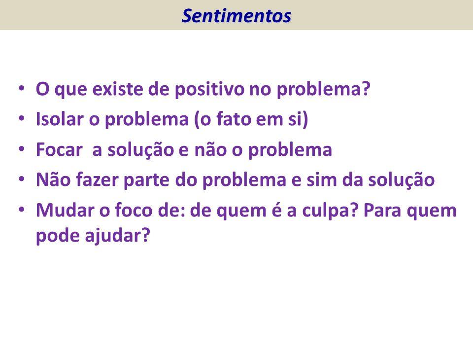 O que existe de positivo no problema? Isolar o problema (o fato em si) Focar a solução e não o problema Não fazer parte do problema e sim da solução M
