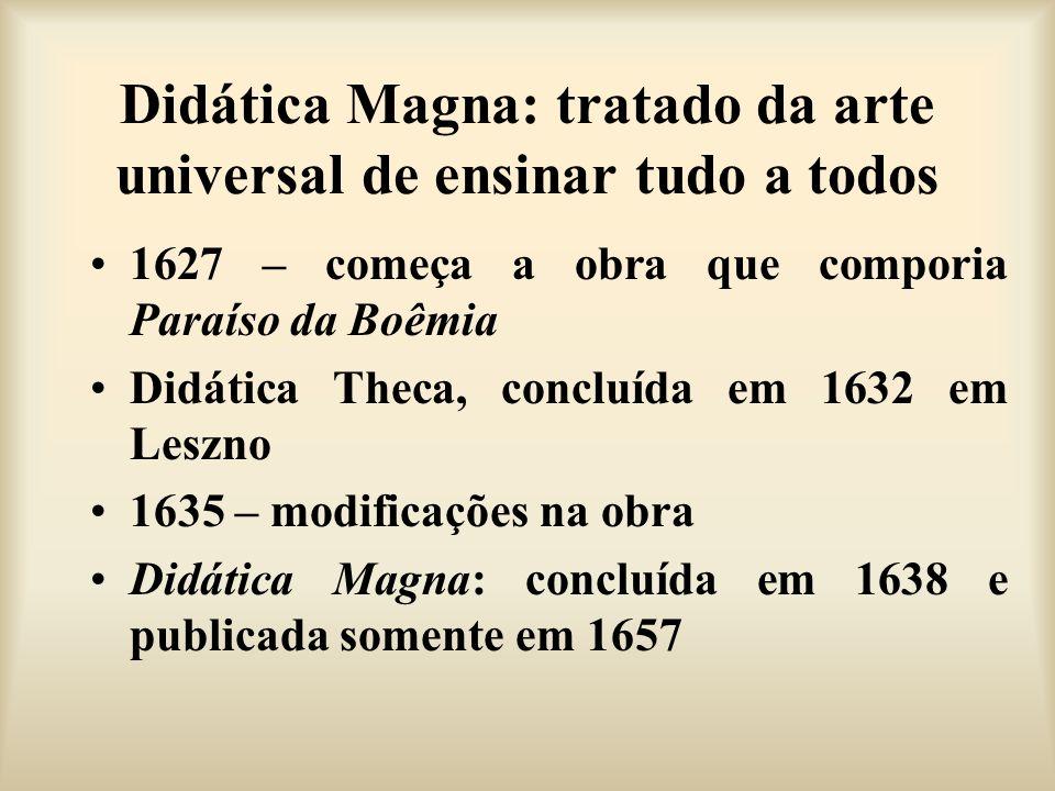 Didática Magna: tratado da arte universal de ensinar tudo a todos 1627 – começa a obra que comporia Paraíso da Boêmia Didática Theca, concluída em 163