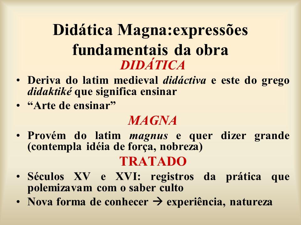 Didática Magna:expressões fundamentais da obra DIDÁTICA Deriva do latim medieval didáctiva e este do grego didaktiké que significa ensinar Arte de ens