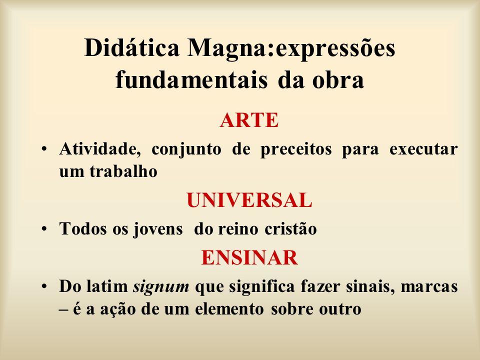 Didática Magna:expressões fundamentais da obra ARTE Atividade, conjunto de preceitos para executar um trabalho UNIVERSAL Todos os jovens do reino cris