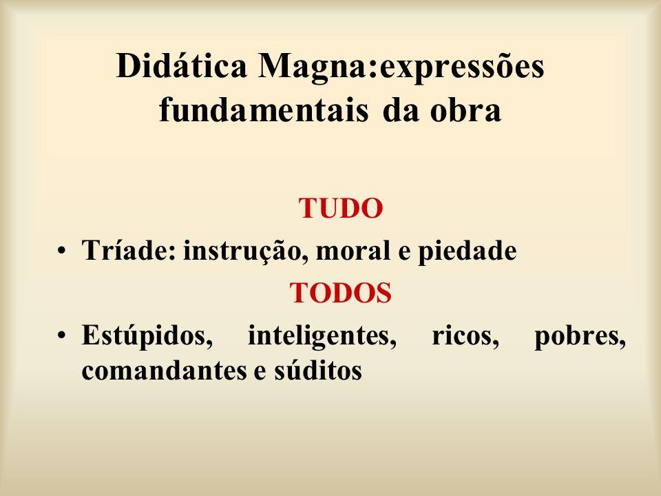 Didática Magna:expressões fundamentais da obra TUDO Tríade: instrução, moral e piedade TODOS Estúpidos, inteligentes, ricos, pobres, comandantes e súd