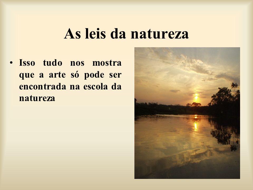 As leis da natureza Isso tudo nos mostra que a arte só pode ser encontrada na escola da natureza