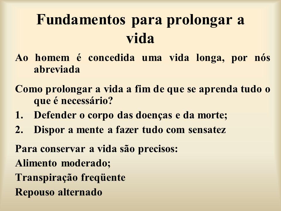 Fundamentos para prolongar a vida Ao homem é concedida uma vida longa, por nós abreviada Como prolongar a vida a fim de que se aprenda tudo o que é ne