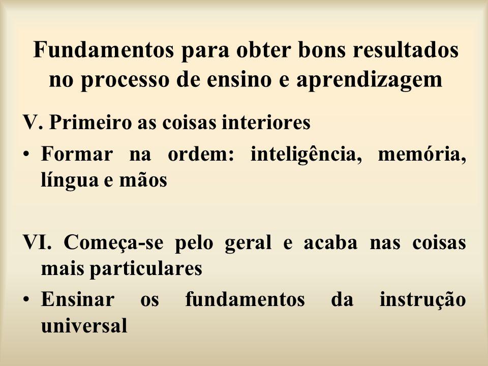 Fundamentos para obter bons resultados no processo de ensino e aprendizagem V. Primeiro as coisas interiores Formar na ordem: inteligência, memória, l