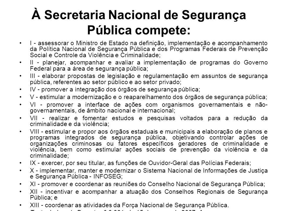 À Secretaria Nacional de Segurança Pública compete: I - assessorar o Ministro de Estado na definição, implementação e acompanhamento da Política Nacio