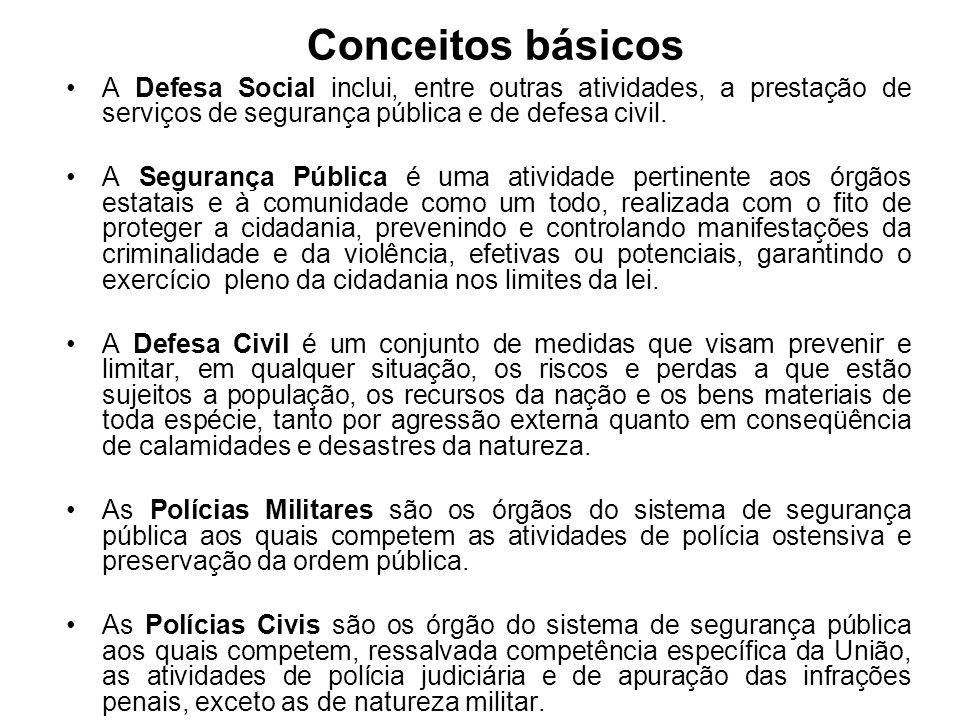 Conceitos básicos A Defesa Social inclui, entre outras atividades, a prestação de serviços de segurança pública e de defesa civil. A Segurança Pública