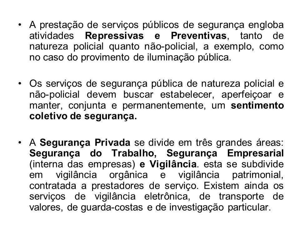 A prestação de serviços públicos de segurança engloba atividades Repressivas e Preventivas, tanto de natureza policial quanto não-policial, a exemplo,