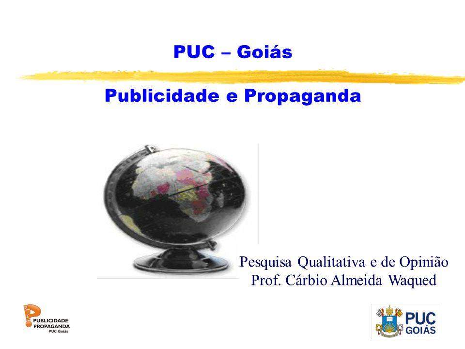 PUC – Goiás Publicidade e Propaganda Pesquisa Qualitativa e de Opinião Prof. Cárbio Almeida Waqued