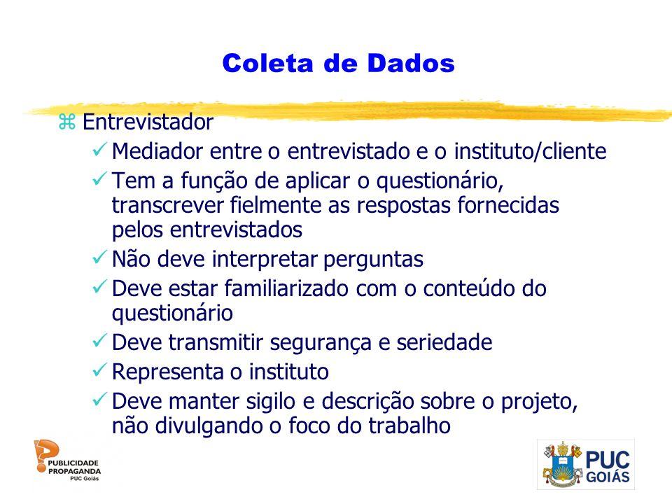 Coleta de Dados zEntrevistador Mediador entre o entrevistado e o instituto/cliente Tem a função de aplicar o questionário, transcrever fielmente as re