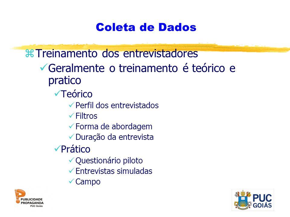 Coleta de Dados zTreinamento dos entrevistadores Geralmente o treinamento é teórico e pratico Teórico Perfil dos entrevistados Filtros Forma de aborda