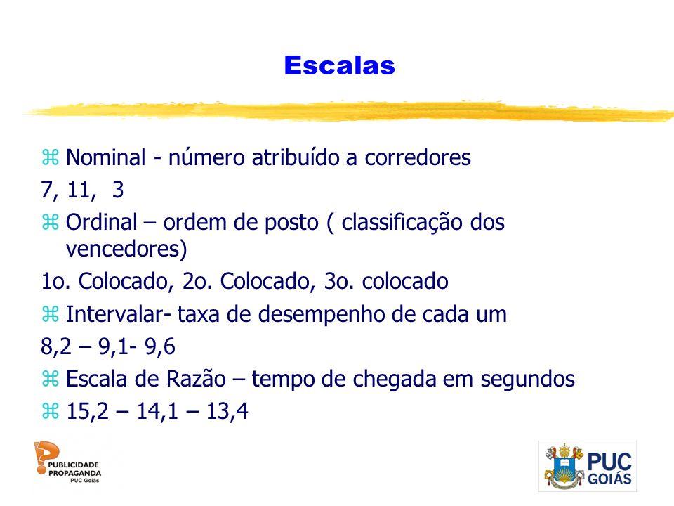 Escalas zNominal - número atribuído a corredores 7, 11, 3 zOrdinal – ordem de posto ( classificação dos vencedores) 1o. Colocado, 2o. Colocado, 3o. co