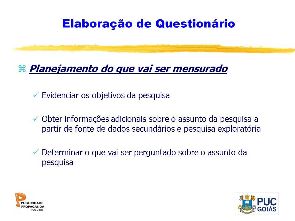 Elaboração de Questionário zPlanejamento do que vai ser mensurado Evidenciar os objetivos da pesquisa Obter informações adicionais sobre o assunto da