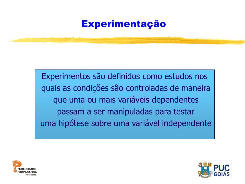 Experimentação Experimentos são definidos como estudos nos quais as condições são controladas de maneira que uma ou mais variáveis dependentes passam