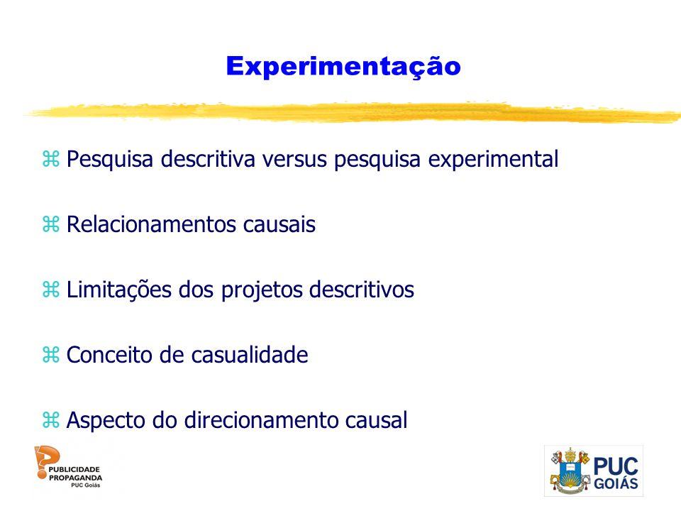 Experimentação zPesquisa descritiva versus pesquisa experimental zRelacionamentos causais zLimitações dos projetos descritivos zConceito de casualidad