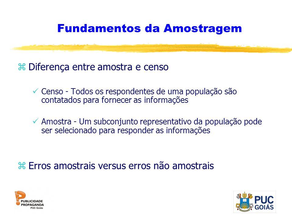Fundamentos da Amostragem zDiferença entre amostra e censo Censo - Todos os respondentes de uma população são contatados para fornecer as informações