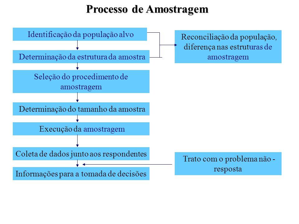 Identificação da população alvo Processo de Amostragem Determinação da estrutura da amostra Seleção do procedimento de amostragem Determinação do tama