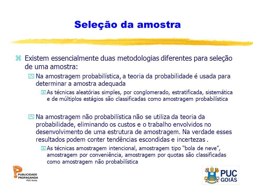 Seleção da amostra zExistem essencialmente duas metodologias diferentes para seleção de uma amostra: yNa amostragem probabilística, a teoria da probab