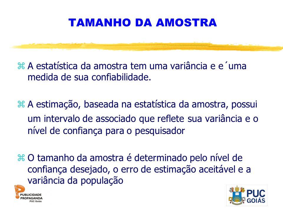 TAMANHO DA AMOSTRA zA estatística da amostra tem uma variância e e´uma medida de sua confiabilidade. zA estimação, baseada na estatística da amostra,
