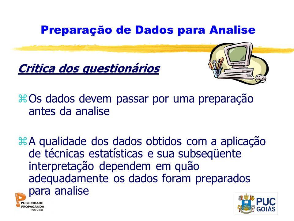 Preparação de Dados para Analise Critica dos questionários zOs dados devem passar por uma preparação antes da analise zA qualidade dos dados obtidos c