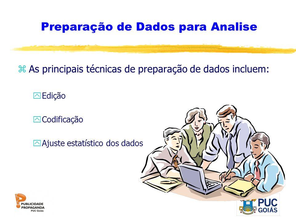 zAs principais técnicas de preparação de dados incluem: yEdição yCodificação yAjuste estatístico dos dados Preparação de Dados para Analise