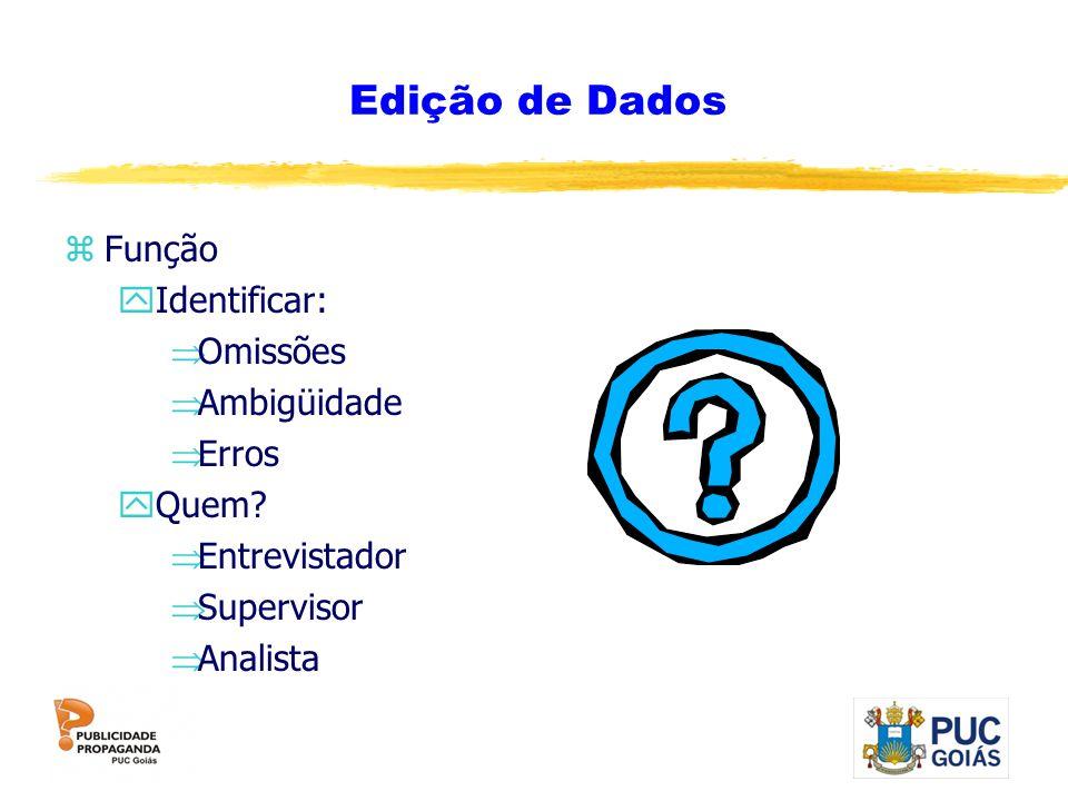Edição de Dados zFunção yIdentificar: Omissões Ambigüidade Erros yQuem? Entrevistador Supervisor Analista
