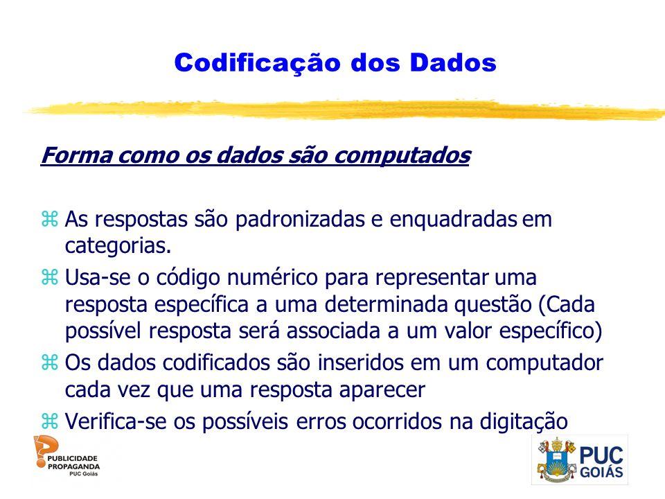 Codificação dos Dados Forma como os dados são computados zAs respostas são padronizadas e enquadradas em categorias. zUsa-se o código numérico para re
