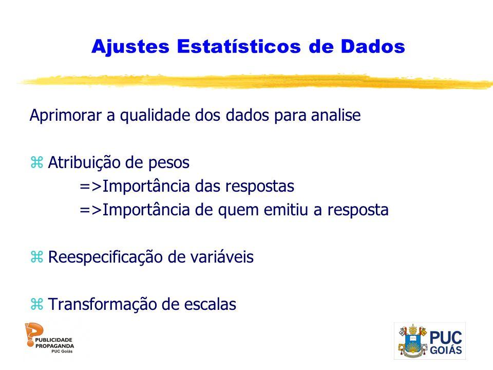 Ajustes Estatísticos de Dados Aprimorar a qualidade dos dados para analise zAtribuição de pesos =>Importância das respostas =>Importância de quem emit
