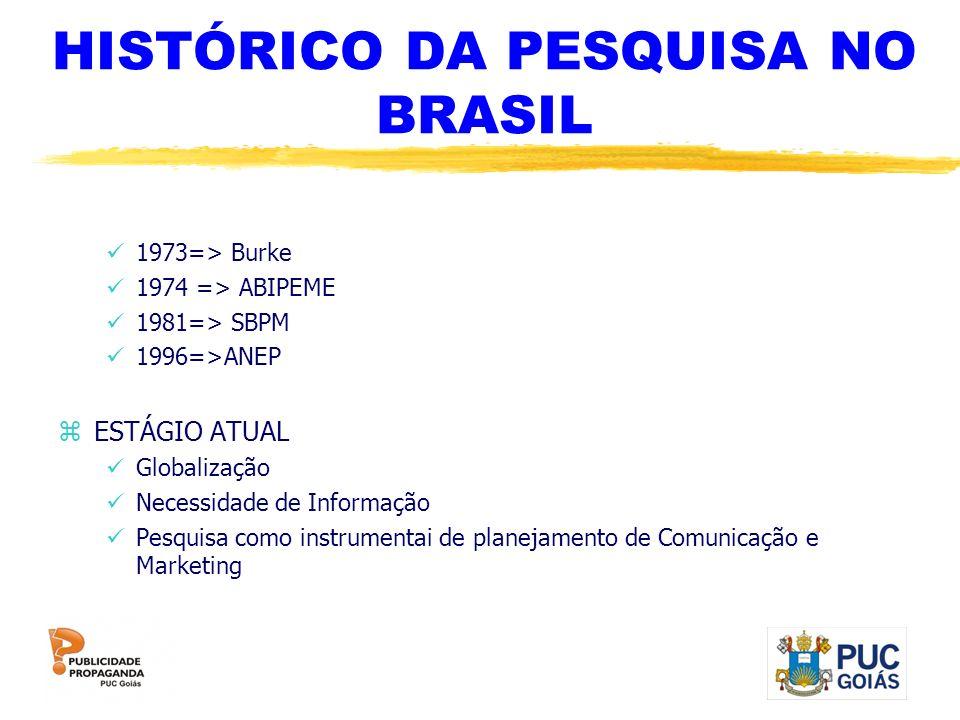HISTÓRICO DA PESQUISA NO BRASIL 1973=> Burke 1974 => ABIPEME 1981=> SBPM 1996=>ANEP zESTÁGIO ATUAL Globalização Necessidade de Informação Pesquisa com