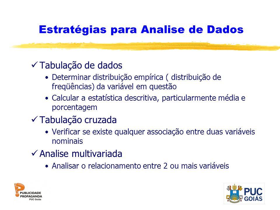 Estratégias para Analise de Dados Tabulação de dados Determinar distribuição empírica ( distribuição de freqüências) da variável em questão Calcular a