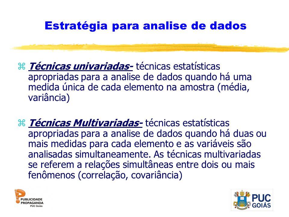 Estratégia para analise de dados zTécnicas univariadas- técnicas estatísticas apropriadas para a analise de dados quando há uma medida única de cada e