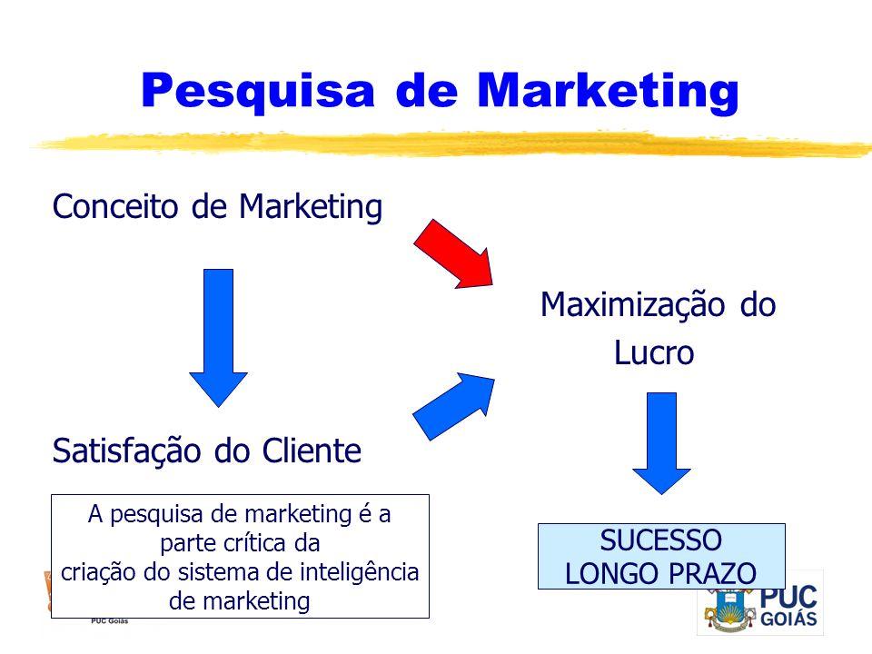 Pesquisa de Marketing Conceito de Marketing Maximização do Lucro Satisfação do Cliente SUCESSO LONGO PRAZO A pesquisa de marketing é a parte crítica d