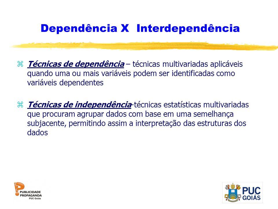 Dependência X Interdependência zTécnicas de dependência – técnicas multivariadas aplicáveis quando uma ou mais variáveis podem ser identificadas como