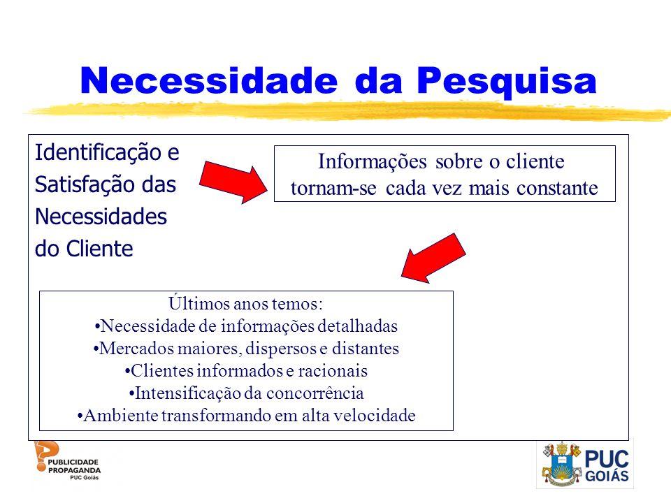 Necessidade da Pesquisa Identificação e Satisfação das Necessidades do Cliente Informações sobre o cliente tornam-se cada vez mais constante Últimos a