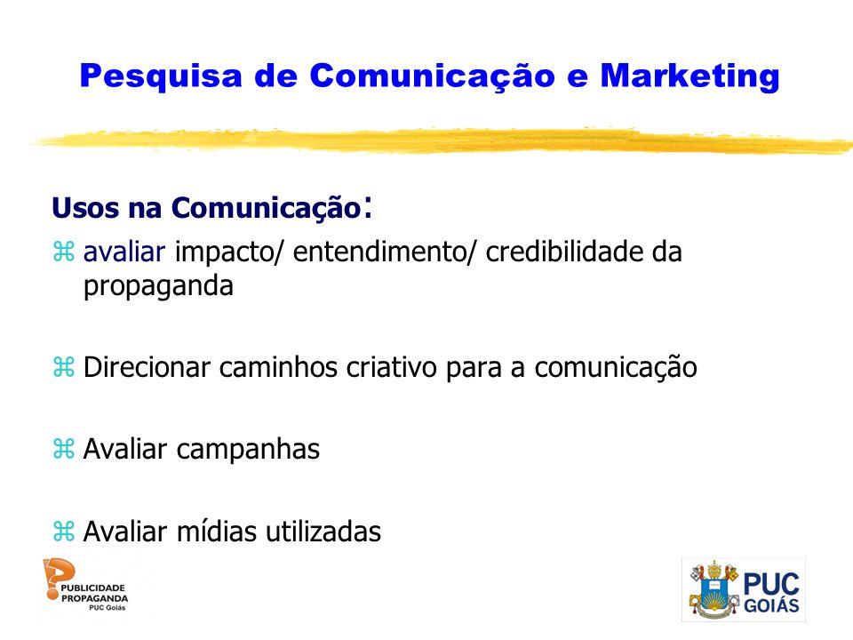 Pesquisa de Comunicação e Marketing Usos na Comunicação : zavaliar impacto/ entendimento/ credibilidade da propaganda zDirecionar caminhos criativo pa