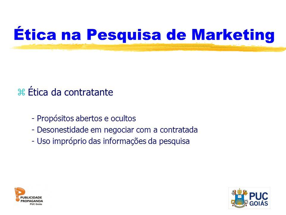 Ética na Pesquisa de Marketing zÉtica da contratante - Propósitos abertos e ocultos - Desonestidade em negociar com a contratada - Uso impróprio das i