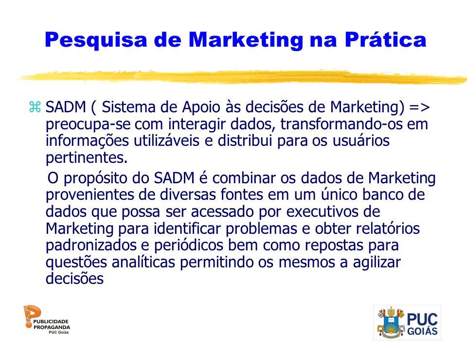 Pesquisa de Marketing na Prática zSADM ( Sistema de Apoio às decisões de Marketing) => preocupa-se com interagir dados, transformando-os em informaçõe